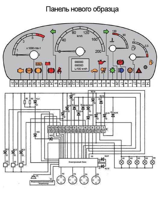 Распиновка панели ВАЗ 2110 нового образца