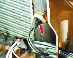 На фото датчик включения вентилятора (карбюраторная ВАЗ 2110)
