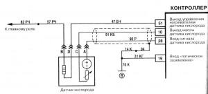На фото - Электрическая схема (распиновка) датчика кислорода