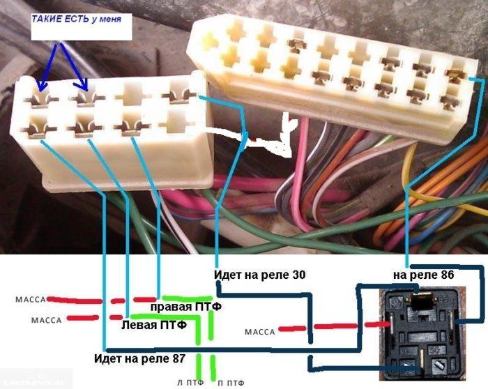Подключение проводки ПТФ
