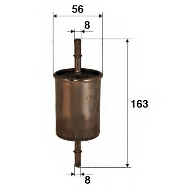Размеры корпуса и трубок фильтра ВАЗ 1118