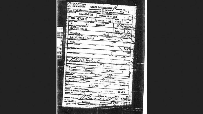 Регистрационное свидетельство Элвиса Пресли