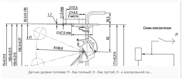 схема датчика уровня топлива ваз 2110
